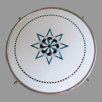 Circa 1920s Art Deco Lazy Susan, Ceramic and Chrome