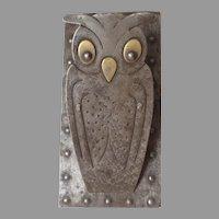 Antique Arts & Crafts Mixed Metal Owl Letter Clip Paperclip