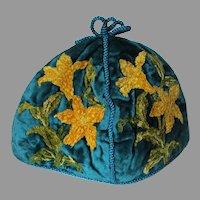 Lovely Antique Victorian Velvet Tea Cozy with Chenille Flowers
