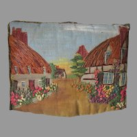 Antique Tea Cozy with English Cottages, Embroidered & Painted