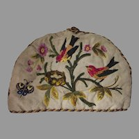 Lovely Antique Victorian Crewel Tea Cozy Birds, Nest, Butterfly