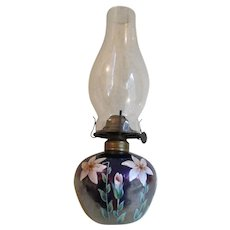 Lovely Antique Art Glass Oil Lamp with Enamel Flowers