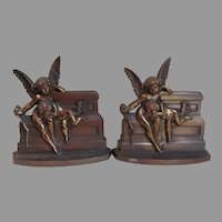 Lovely Cherub Angel Bookends , Cast Brass Desk Accessory