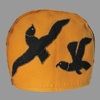 Art Deco Tea Cozy with Bird Motif, Applique Wool Felt