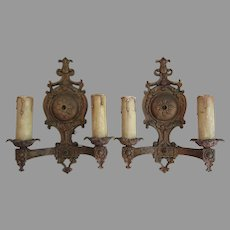 Pretty Pair of Antique Wall Sconces, Light Fixtures
