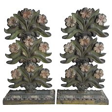 Antique Victorian Letter Holders, Calling Card Receiver with Flowers