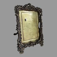 Pretty Antique Bronze Picture Frame by P Guerin, Vanity Desk Accessory