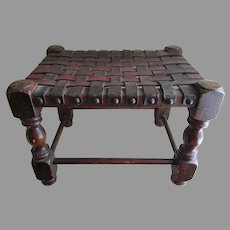 Antique Spanish Revival Footstool with Leather Basketweave Top