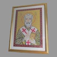 Vintage Saint Nickolas Religious Icon, Needlepoint Tapestry