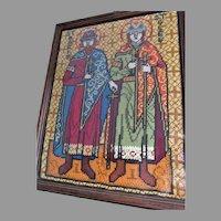Vintage Saint Boris & Gleb Religious Icon, Needlepoint Tapestry