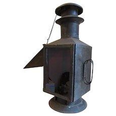 Primitive Antique Photography Darkroom Lantern Hand Made Tin, Original Finish