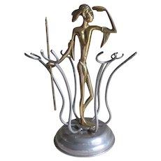 Antique Art Deco Glass Holder, Native Motif