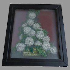 Vintage Painting of Flowers, Diorama, Oil Painting on Glass