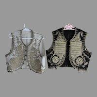 Antique Gold Boulle Embroidered Children's Yelek Vests, Bodice