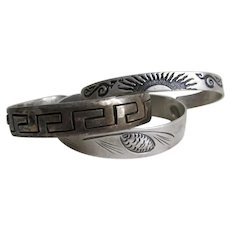 Vintage Sterling Silver Bangle Bracelets, Greek Key, Native American Indian