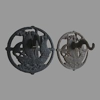 Pair Antique Arts & Crafts, Mission Cast Iron Wall Hooks, Architectural