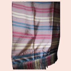 Lovely Antique Hand Woven Silk Shawl, Piano Scarf with Fringe