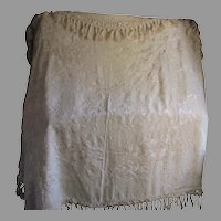 Lovely Antique Embroidered Floral Silk Shawl, Piano Scarf, Raw Silk