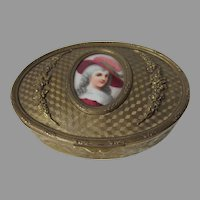 Pretty Antique French Jewelry Box, Hand Painted Miniature Portrait