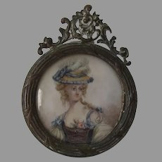 Antique Miniature Painting, French, Lady with Feathered Hat