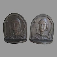 Art Deco c1929 Charles Lindbergh, THE AVIATOR, Cast Iron Bookends