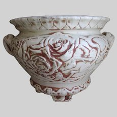Antique Weller Old Ivory Jardiniere with Roses, Art Pottery Planter