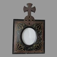 Antique Hand Carved Marble, Slate Picture Frame with Cross, Architectural