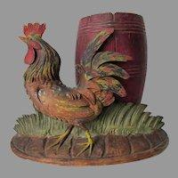 Antique German Black Forest, Hand Carved Rooster, Folk Art
