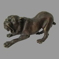 Vintage Bronze Sculpture of a Dog, Bulldog, Mastiff