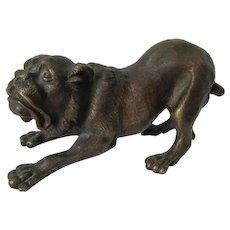 Vintage Bronze Sculpture of a Dog, Bulldog, Mastiff