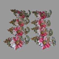 Lovely Set of 8 Art Deco Poppy Flower Curtain Tiebacks