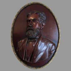 Fine Antique Hand Carved Wood Portrait Plaque of a Gentleman