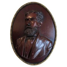Fine Antique Hand Carved Wood Portrait Plaque of a Gentleman