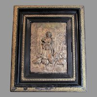 Antique c1880s European Repousse Plaque, Lady with Geese