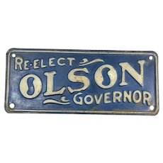 Re-Elect Olson Governor, Political Minnesota License Plate Topper