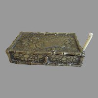 Antique Bronze Match Safe, Vesta, Got To Bed with Dragonfly