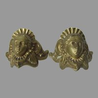 Pair Antique Ladies Face Architectural Elements, Ornaments