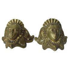 Pair Antique Ladies Face Architectural Elements, Ornaments