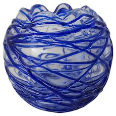 Art Glass Rose Bowl with Threaded Decoration in Cobalt Blue