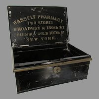 Antique 19thC Advertising Tole Box, Wasself Pharmacy, NY