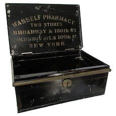 Antique 19thC Advertising Tole Box, Wasself Pharmacy, NY