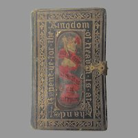 Antique c1850 Bible, Tooled Leather Book, Hand Painted