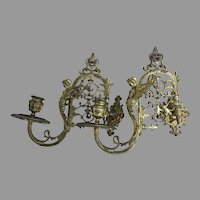 Lovely Gilt Brass Antique Candle Sconces with Angels, Fairies
