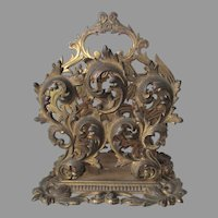 Antique French Rococo Letter Holder, Cast Iron Desk Accessory