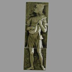 Antique Architectural Art Pottery Tile Panel Man & Mandolin A.E. Tile Co