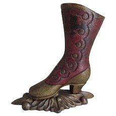 Antique Cast Iron, Ladies Victorian Shoe Match Safe