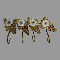 Antique c1880s Opalescent & Gilt Brass Curtain Tiebacks, Flower & Grape