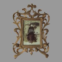Antique Victorian Picture Frame with Pretty Scroll Motif