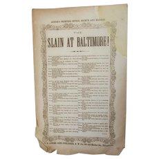 Antique Original c1861 Civil War Broadside, Slain at Baltimore, Riots 1860s