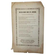 Antique Oder Side Jordan Broadside, Slavery, Prohibition, Beecher Stowe Original Civil War
